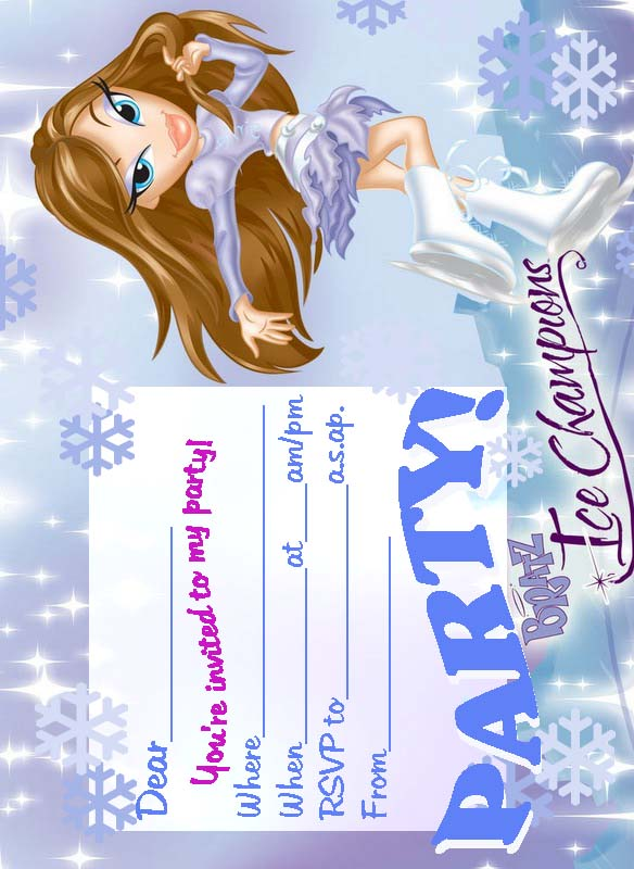 BRATZ COLORING PAGES ICE SKATING PRINTABLES ICE SKATE PARTY – Ice Skating Party Invitations