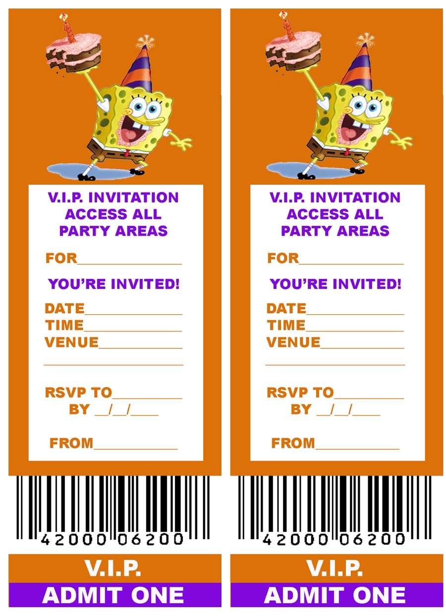 spongebob squarepants birthday invitation templates spongebob vip ticket party invitation spongebob squarepants