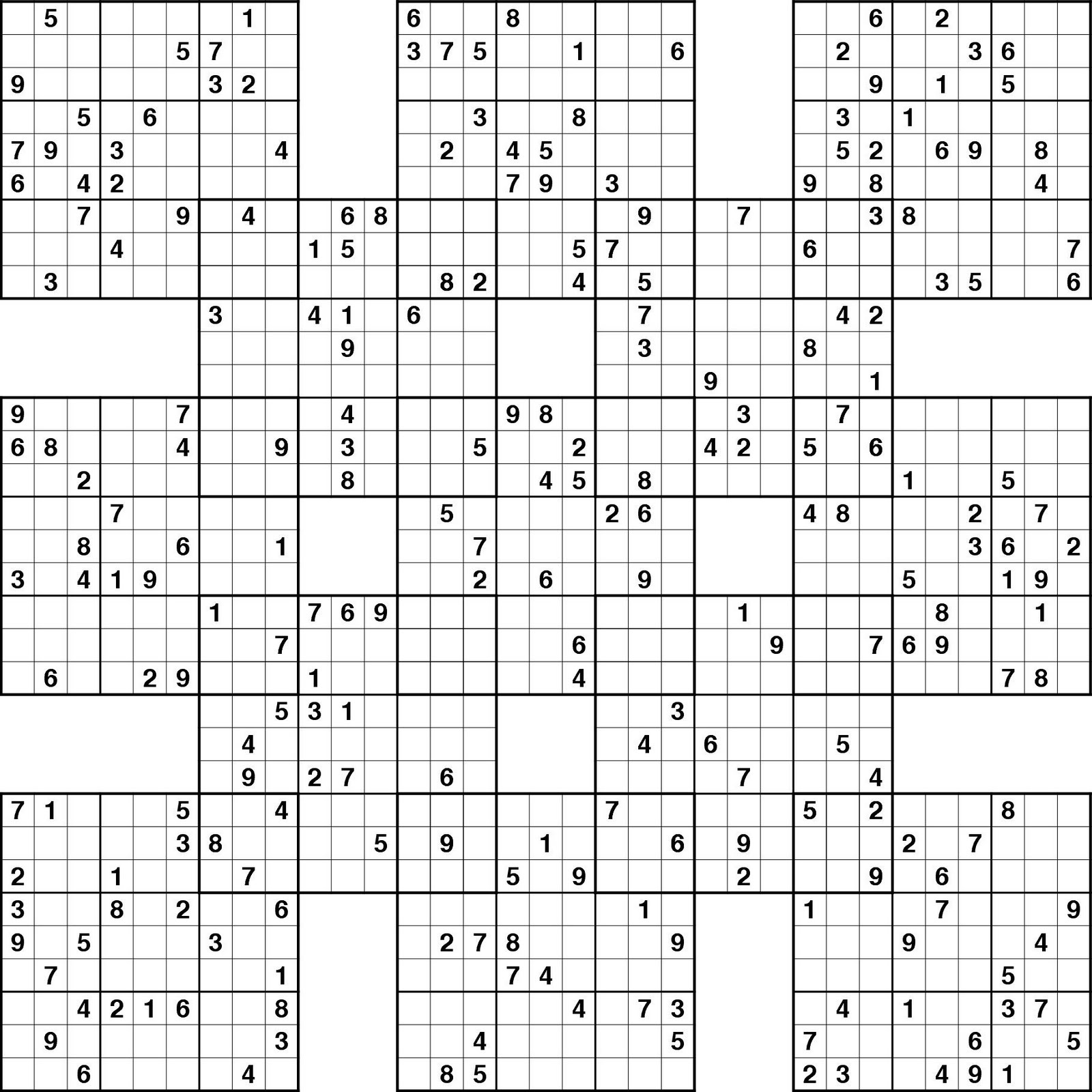 photograph relating to Sudoku Samurai Printable named PRINTABLE SUDOKU