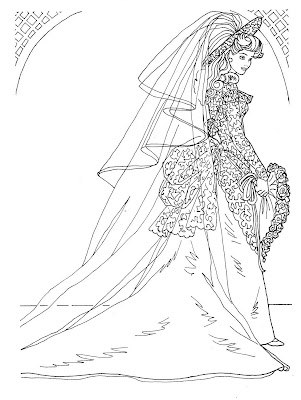 BRIDAL GOWN COLORING PAGES