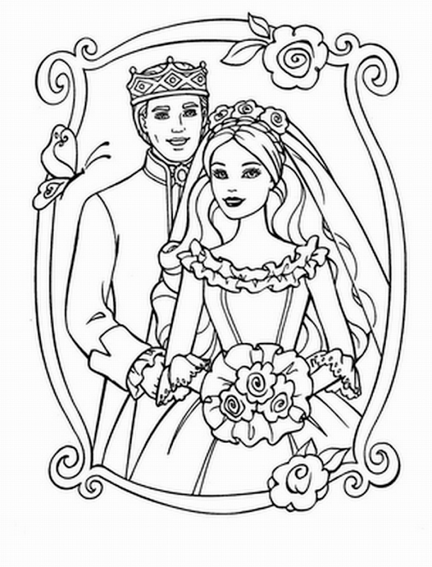 KEN AND BARBIE COLORING PAGES title=
