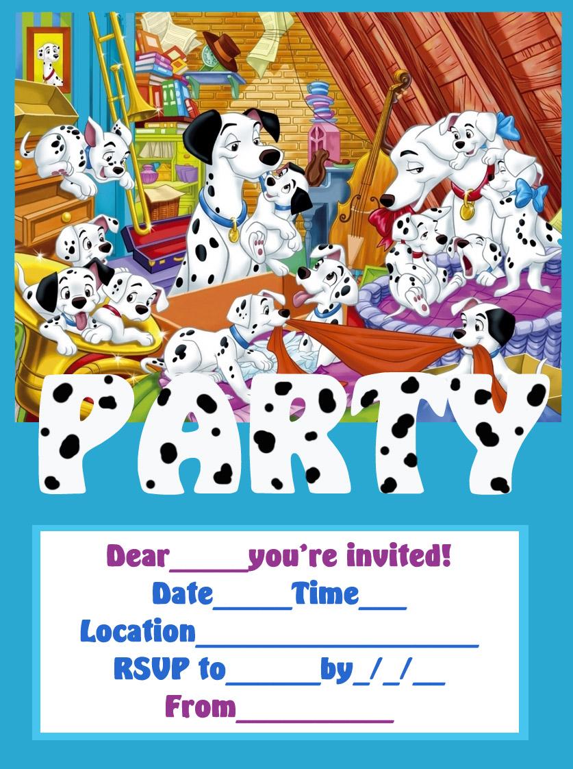 COLOURING BOOK SHEET101 DALMATIANS FREE PRINTABLE PARTY INVITATION LETS COLORING