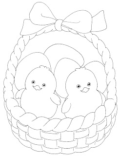 EASTER COLOURING CUTE EASTER CHICKS IN A BASKET TO COLOUR