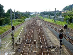 蟹田駅の線路