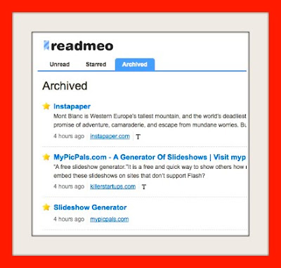 readmeo,read later, save, bookmarklet, bookmarks, links, email, twitter