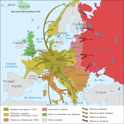 mapa de la segunda guerra mundial