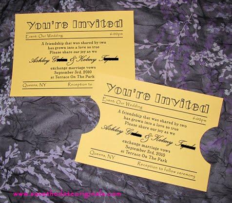 Movie ticket themed wedding invitations
