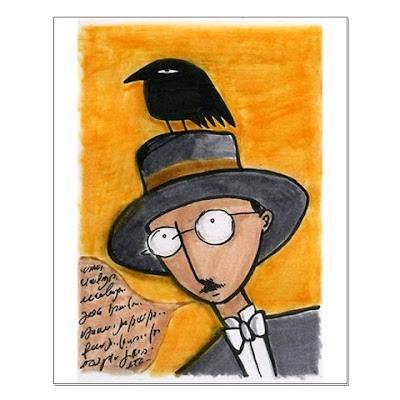 Fernando Pessoa com corvo na cabeça