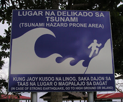 Tsunami notice from Siargao Island, NE Mindanao, Philippines, home of Cloud 9 surfing spot