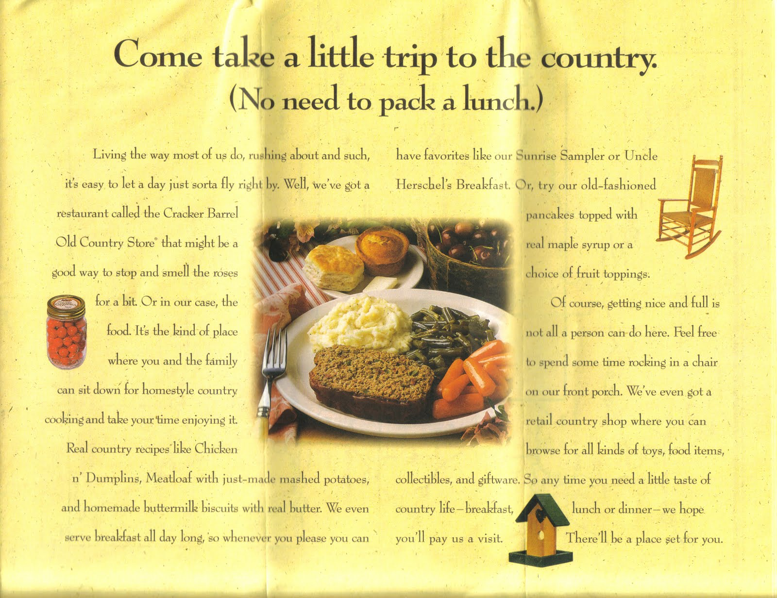 the brochures available free of charge at any cracker barrel location are a handy reference and depict a map of the united states with every cracker barrel