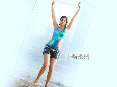 Shriya Saran in a sexy Blue colored Swimsuit and short Shorts