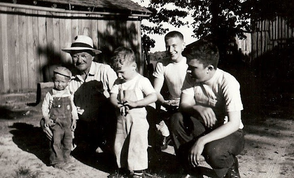 Jim with the neighborhood children . . . .