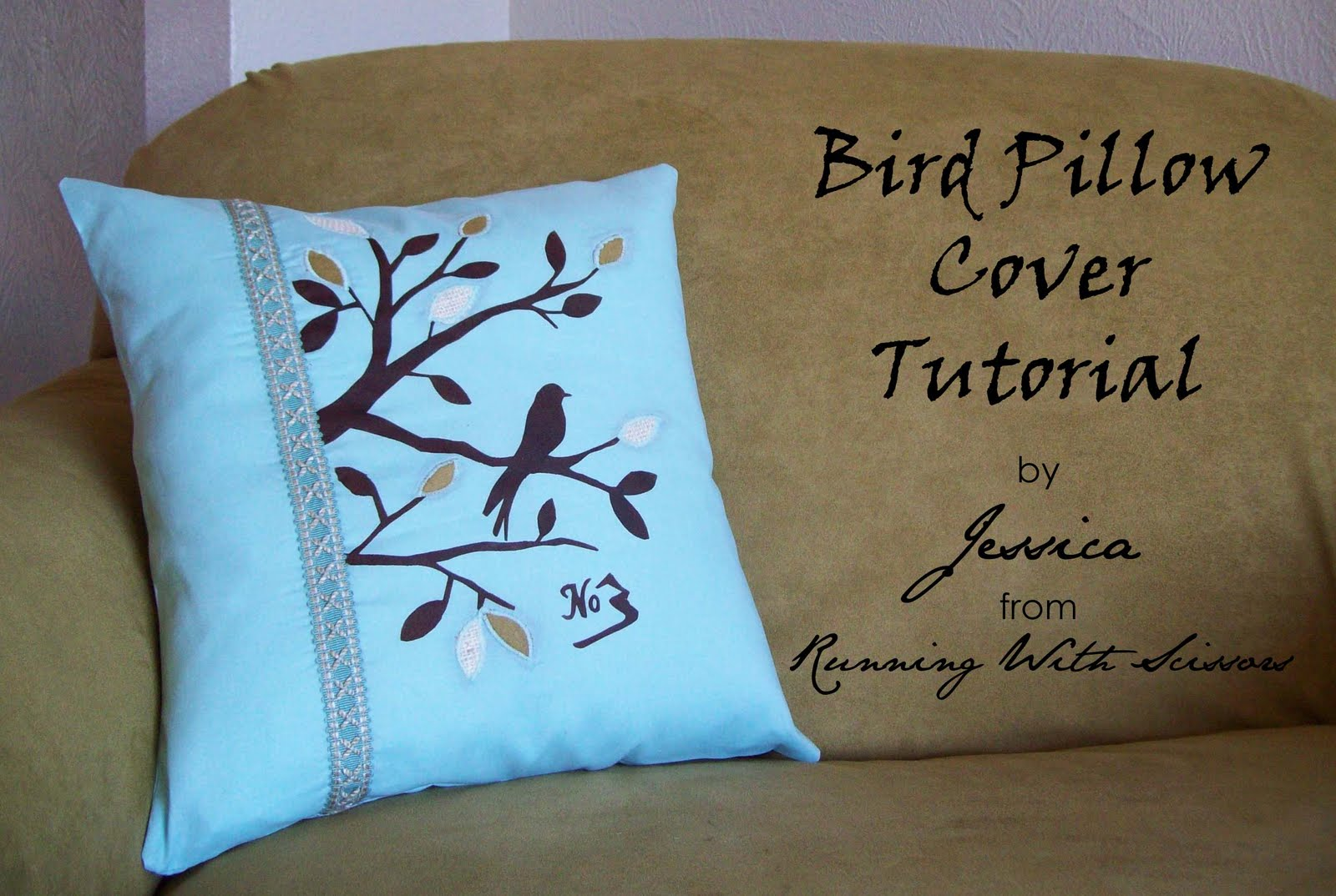 Running With Scissors: Bird Pillow Cover Tutorial
