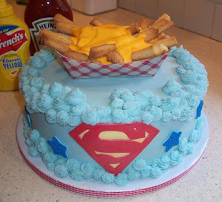 birthday cake, superman and cheese fries
