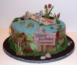 fishing birthday cake with bucket of worms
