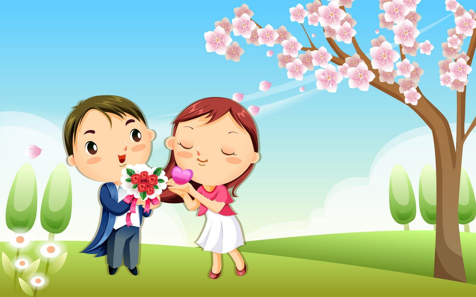 Boyfriend Girlfriend Cartoons Happy