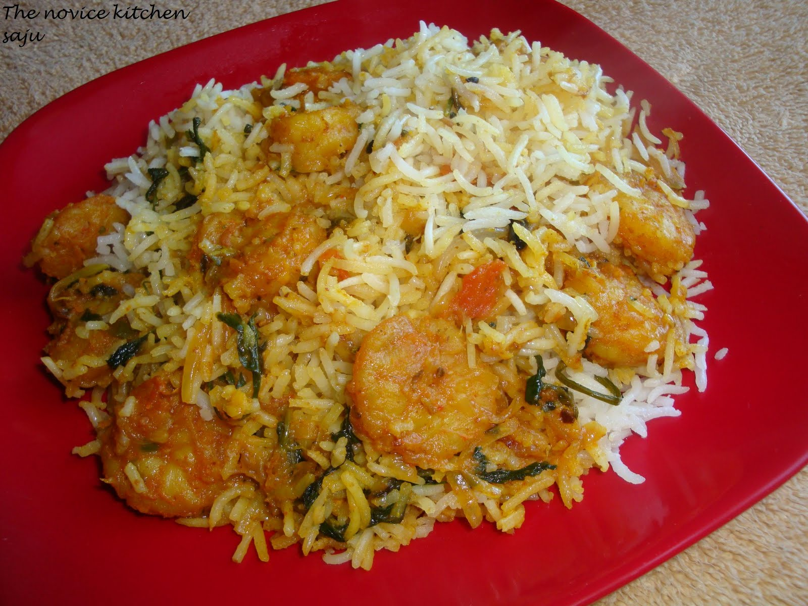 Saju's Kitchen: Shrimp Biryani ~ Mom's style!!