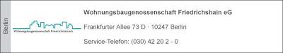 neue Anschrift: Storkower Straße 209, 10369 Berlin