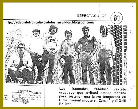 FRANCO CON LOS IRACUNDOS 1970
