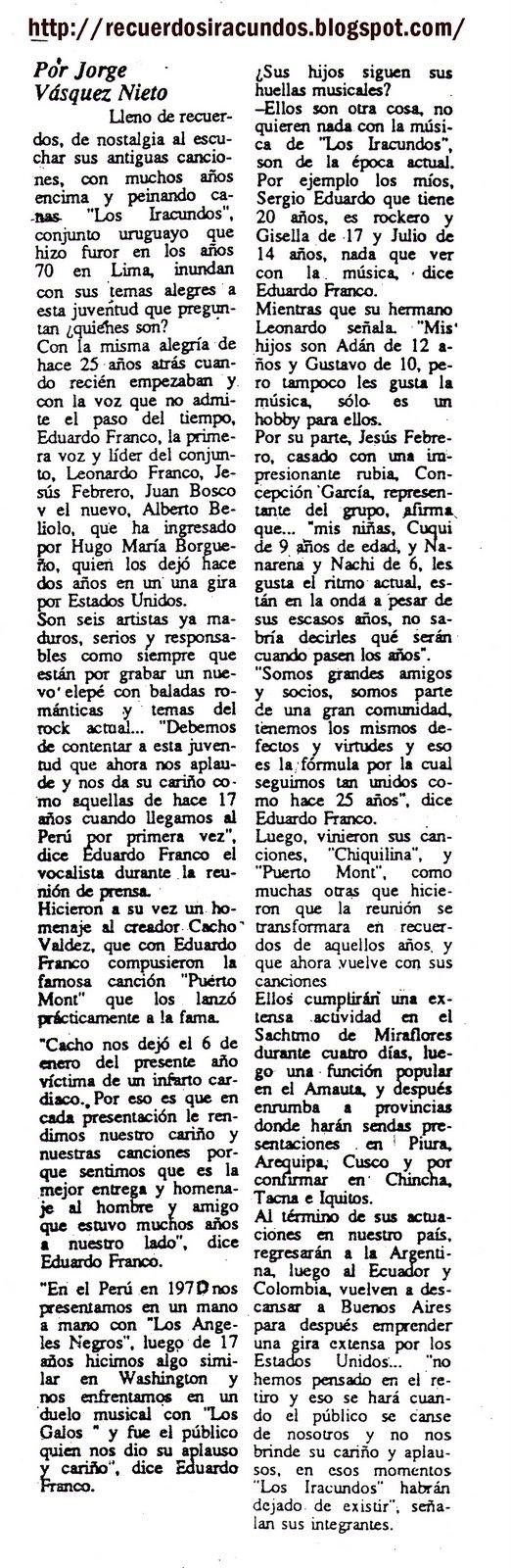 NOTA 1988-LOS IRACUNDOS  28 AÑOS DE  HISTORIA