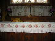 Beaded moose altar cloth in 1905 log church~Nenana, AK