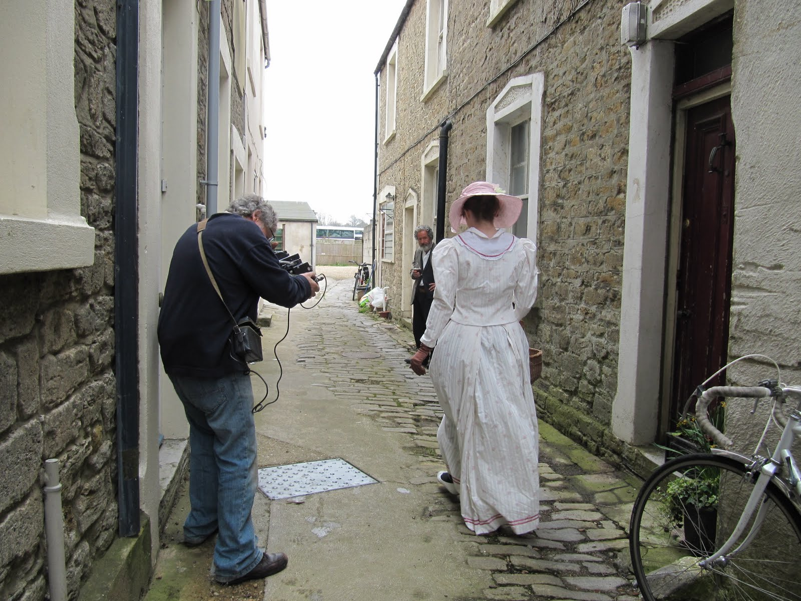 we were filming a short scene meant to be outside an edwardian pub the character drinking down the road did a very convincing drunken look