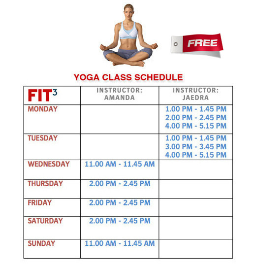 FIT3 - YOGA | FITNESS | RUNNING SUPERSTORE: FIT3's Free Yoga Class ...