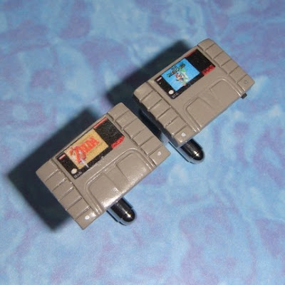 Super Nintendo game cartridge polymer clay cuff links