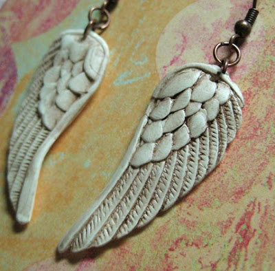 polymer clay winged jewelry