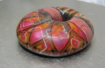 polymer clay brooch, donut