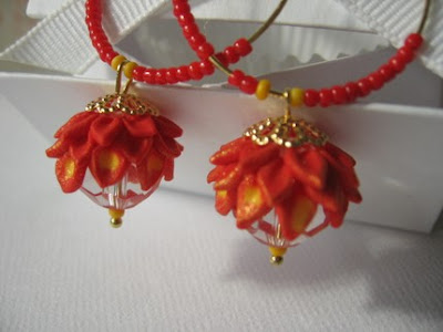 polymer clay earrings flowers
