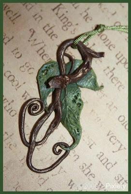polymer clay leaf pendant