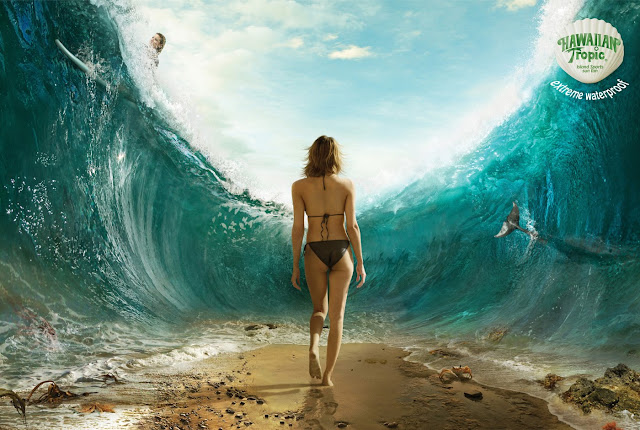 Hawaiian Tropic Extreme waterproof ad