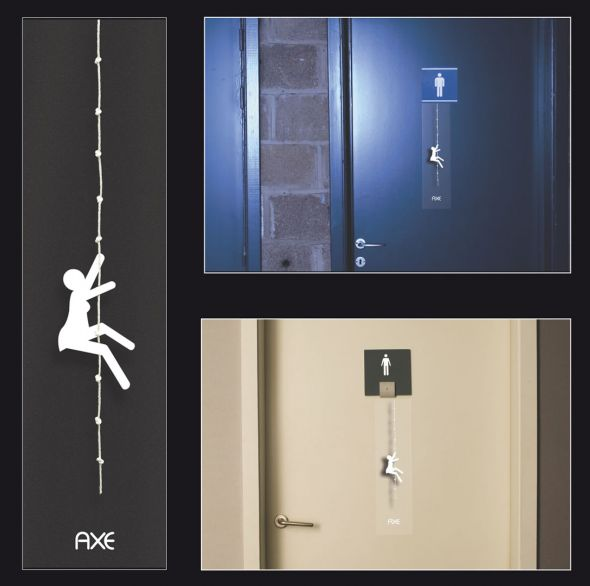 Axe advertisement: Male toilet sign