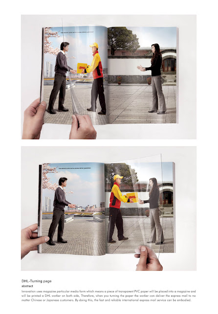 DHL turning page advertisement