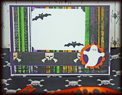 Inside of Halloween card made with Stampin' Up Pumpkin Pie and Elegant Eggplant card and Papertrey tags