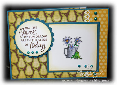 Mojo Monday Challenge Card made using Flower For All Seasons stamps front