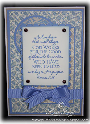 Card made with Stampin' Up Brocade Blue ribbon and Bella Bleu paper