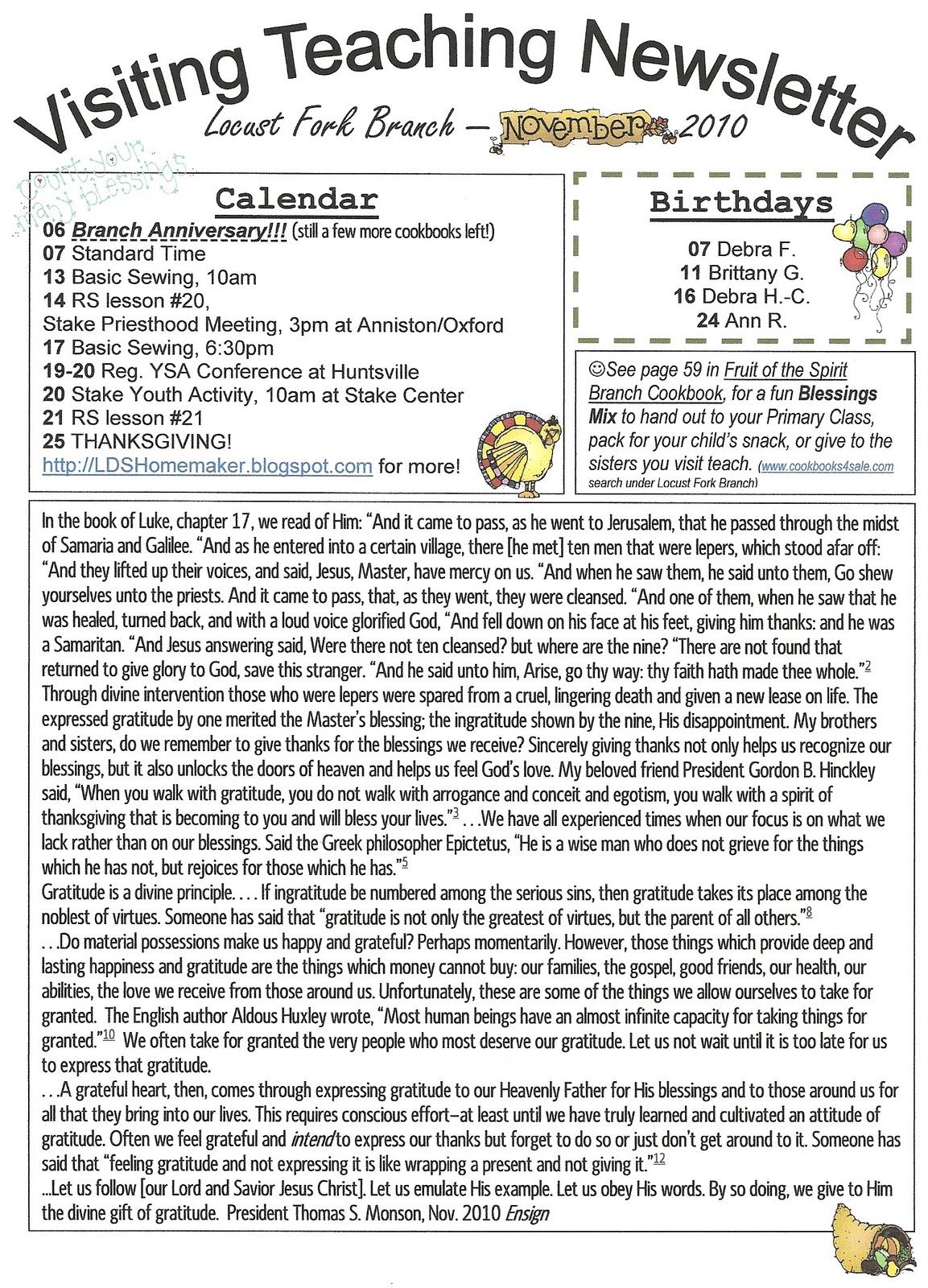 homemaker s journal church newsletter ideas
