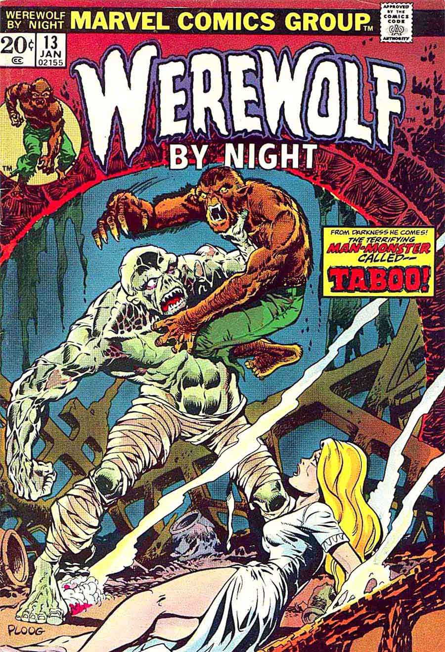 Comic Book Cover Drawing ~ Werewolf by night mike ploog art cover pencil ink