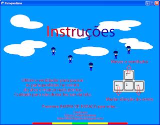 Tela de instruções do jogo. Clique para ampliar.