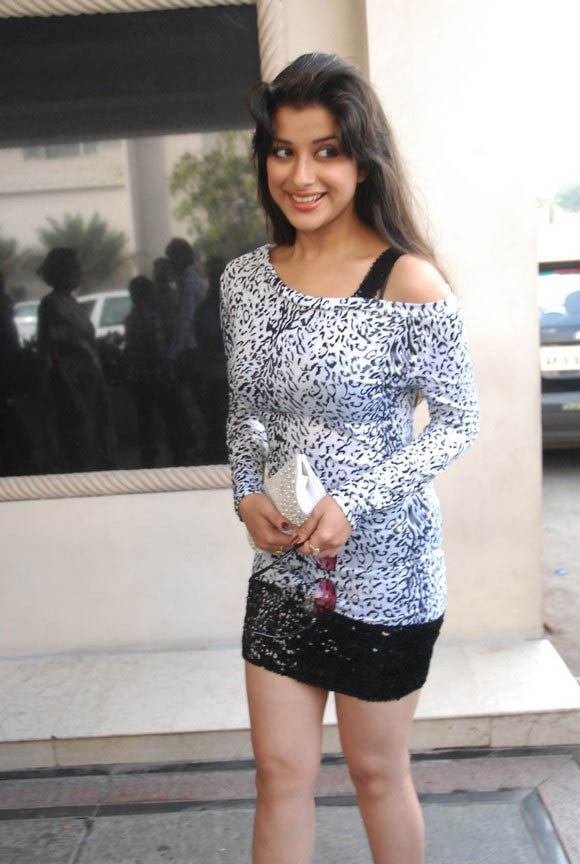Madhurima in black short skirt with Hanging Top in Banjara Hills