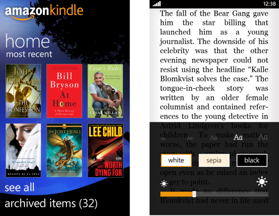 amazon kindle app for WP7