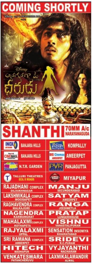 Anaganaga dheerudu theater's list