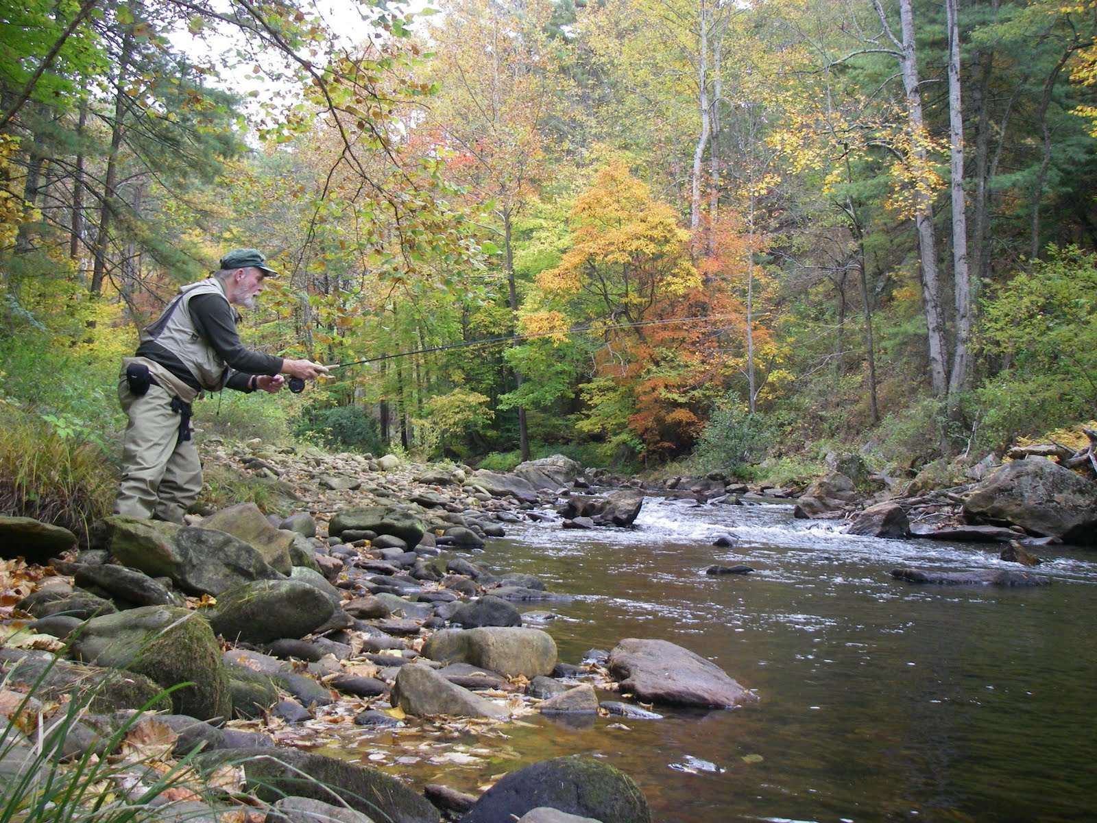 hugh koontz his laughing trout fly fishing amid fall 39 s