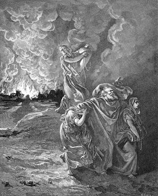 Lot foge de Sodoma destruida pelo fogo divino, Gustave Doré