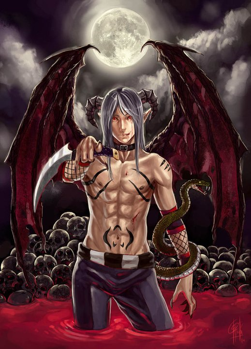 the angels sanctuary demon shirtless demon boy in a