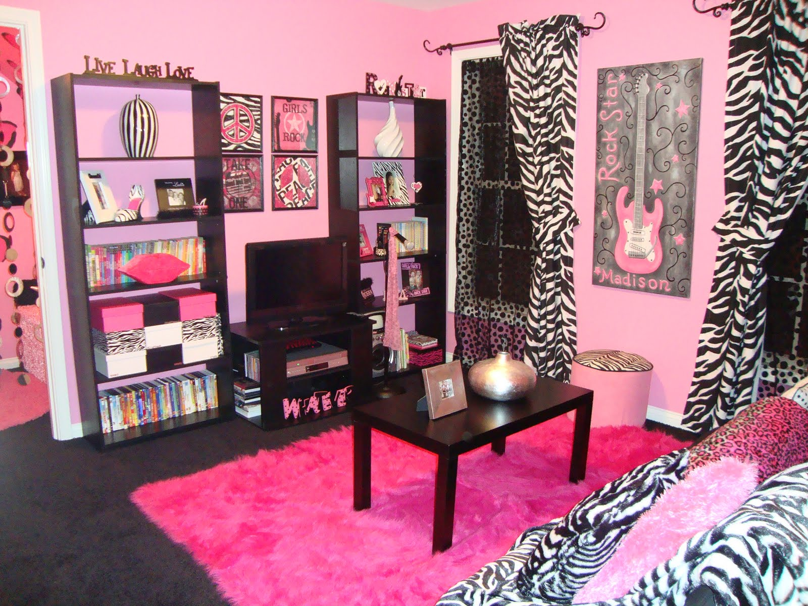 hot pink zebra room decor fashionable teen hangout lounge design