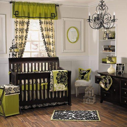 Girl39s nursery black white jalapeno green design dazzle for Black and white baby room decor