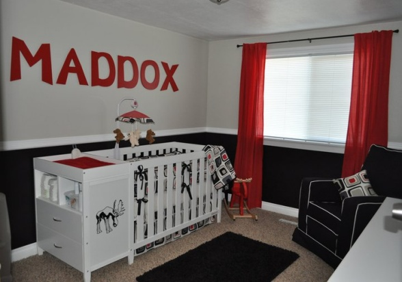 Black white kids rooms design dazzle for Georgia bulldog bedroom ideas